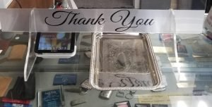 24x24 clear acrylic stand up divider shield for your cash register, includes Thank You sign, moneycredit card tray